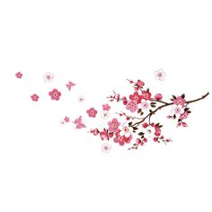 Fashion Peach Blossom Flower Butterfly Wall Stickers Removable Art Murals Wall Decals for Living Room Bedroom Bathroom Decoration