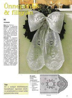 Filet Häkeln / crochet Schleife Engel -Christmas ribbon with diagram: Crochet Bows, Crochet Doily Patterns, Thread Crochet, Crochet Doilies, Crochet Flowers, Knit Crochet, Filet Crochet Charts, Crochet Diagram, Crochet Winter