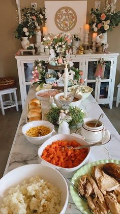 Garden Themed Spring Tablescape Food Displays, Buffet Displays, Easter Dinner, Easter Party, Grace Home, Styling A Buffet, Copper Mugs, Easter 2021, Food Stations