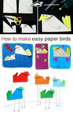 How to make easy paper birds: