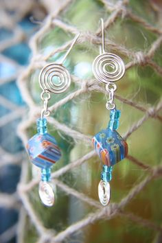 Turquoise Blue Beaded Earrings by artistrybyannie on Etsy, $15.00