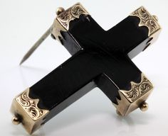 Antique 1850's Victorian 10k Rose Gold Black Jet Mourning Cross Pin Brooch! | eBay, sold for $105.00