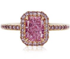 De Beers, pink diamond : cushion cut solitaire, micropave Aura Ring diamonds-are-a-girls-best-friend-wait-all-jewelry- Pink Jewelry, Gems Jewelry, Diamond Jewelry, Jewellery, Diamond Rings, Pink Diamond Engagement Ring, Colored Engagement Rings, Halo Engagement, Radiant Cut Diamond