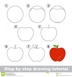 Photo about Step by step drawing tutorial. Visual game for kids. How to draw an Apple. Illustration of developing, board, game - 66449778 Drawing Classes For Kids, Basic Drawing For Kids, Drawing Games For Kids, Drawing Tutorials For Kids, Easy Drawings For Kids, Geometric Shapes Drawing, Drawing Apple, Fruits Drawing, Easy Doodle Art