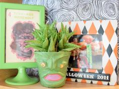 No kiln, no wheel, no problem. Air-dry clay is easy to sculpt into a variety of things, including these adorable monster planters for Halloween.
