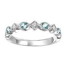Aquamarine & Diamond Ring in 10K White Gold / FR1264 :: D Geller & Son