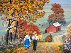 """""""Golden Days"""" - painting by John Sloane Pictures To Paint, Art Pictures, Cenas Do Interior, Arte Country, Autumn Scenes, Farm Art, Country Scenes, Country Landscaping, Autumn Art"""
