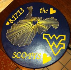 Wedding gift. West Virginia. WVU. String Art. Crafty. 2013. Mr.