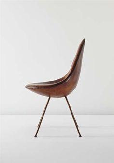 Arne Jacobsen - The Drop - Cuir et acier - Pour Fritz Hansen - 1958