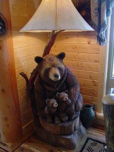 Black Bear Lamp - Ideas on Foter Black Bear Decor, Black Forest Decor, Moose Decor, Tree Carving, Log Furniture, Cozy Cabin, Wood Sculpture, Wood Art, Rustic Decor