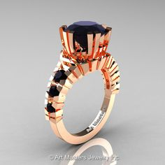 Modern 14K Rose Gold 3.0 Ct Black Diamond Solitaire Wedding Anniversary Ring R325-14KRGBD | Art Masters Jewelry
