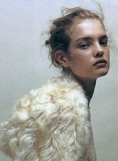 Natalia Vodianova in 'Doux Comme Un Agneau' by Jean Baptiste Mondino for Numéro 37, 2002.