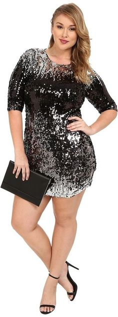 Plus Size Ombre Sequin Dress