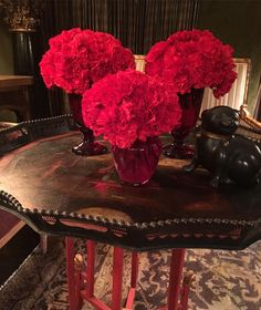 Sometimes masses of carnations do the trick. They last forever and add great color. #carnation #red #pretty