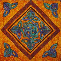 Celtic quilt, can modify this appropriately for Jus & Cianna. Subdue the colors.