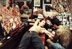 Jonathan Shaw tattooing Filip Leu  by Scab Vendor, via Flickr