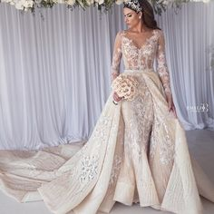 Long sleeve wedding dress with detachable,two in one bridal gowns, wedding dress with detachable skirt, removable skirt wedding dress , wedding dress with detachable train, detachable train mermaid wedding dress, detachable wedding train only, pronovias detachable train, wedding dress that bottom comes off,