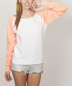 White & Orange Raglan Sweatshirt #zulily #zulilyfinds
