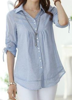 Curved Button Up Turndown Collar Light Blue Shirt Short Kurti Designs, Kurti Neck Designs, Tunic Designs, Dress Sewing Patterns, Fashion Sewing, Trendy Tops, Blouse Styles, Stylish Dresses, Blouses For Women
