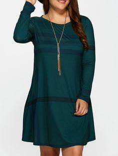 b6ff854a713 Casual Plus Size Vertical Striped T-Shirt Dress - DEEP GREEN 3XL Plus Size T