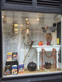 Charity shop Halloween window