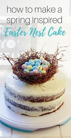 How to Make a Spring Inspired Easter Nest Cake - Happily Dwell Chocolate Nests, Easter Chocolate, Easter Cookies, Easter Treats, Easter Food, Edible Bird's Nest, Desserts To Make, Holiday Desserts, Dessert Recipes