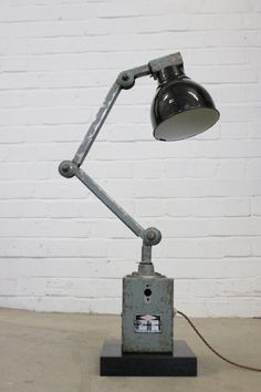 Vintage Industrial Machinists Lamp Circa Worldwide shipping- Fully re wired - Takes bayonet fitting bulbs- Mounted on a heavy black Oak base- Light blue original paint with dark green enamel shade- English, Circa x x