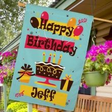 personalized happy birthday house flags - Decorative House Flags