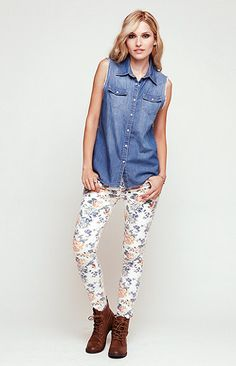 Floral jeans, denim collared top, and combat boots