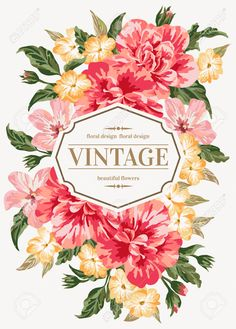 Vintage greeting card with colorful flowers - Buscar con Google