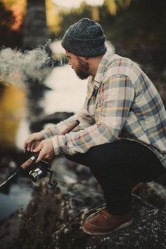 Fishin', man, river, rugger, beanie, plaid, flannel, beard