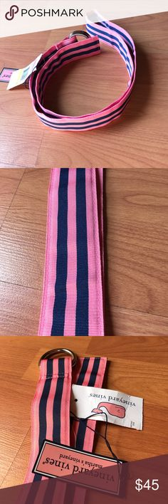 """Cute & Preppy Vineyard Vines Men's Grosgrain Belt Sweet Vineyard Vines Men's Grosgrain belt. Bermuda pink and blue harbor stripe. 100% Polyester and NWT's. D ring buckles. 1 and 1/2"""" wide, about 46"""" long including buckle. Ready for wear. Vineyard Vines Accessories Belts"""