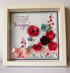 Julie Kettlewell - Stampin Up UK Independent Demonstrator - Order products Retreat Floral Frame Project Flower Shadow Box, Diy Shadow Box, Shadow Box Frames, Flower Frame, Felt Flowers, Paper Flowers, Crafts To Sell, Diy And Crafts, Felt Crafts