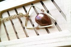 Chestnut Pearl Geometric Necklace