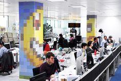 OgilvyOne turns 21,000 pantone color chips into paper pixel emoticons - designboom | architecture  design magazine