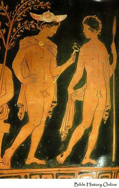 Hermes and a young warrior. Side A of an Apulian red-figure bell-krater, attributed to the Bendis Painter; Now in the Louvre. Ancient Greek Sculpture, Ancient Greek Art, Ancient Greece, Male Figure Drawing, Greek Pottery, Classical Antiquity, Art Antique, Roman Art, Historical Art