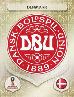 Denmark crest card for the 2018 World Cup Finals. World Cup Russia 2018, World Cup 2018, Fifa World Cup, Mens World Cup, Word Cup, Jersey Atletico Madrid, Football Stickers, International Teams, America's Cup