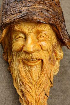 Handmade Original Ooak Wood carving of a Wood Spirit by treewiz, $140.00