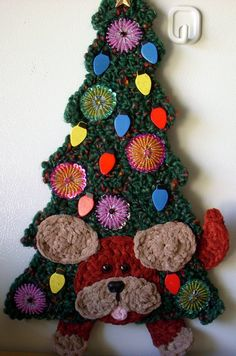 Crochet Christmas Tree with puppy playing.  By Jerre Lollman