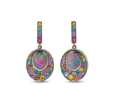 Solange Azagury-Partridge, Opal Fruit earrings, Black Opals, Diamonds, Sapphires and Rubies in blackened 18ct white gold