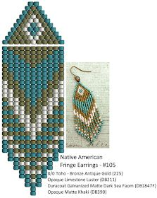Beaded earrings 77053843613887746 - Linda's Crafty Inspirations: Fringe Earrings and – Teal & Khaki Source by chaouchmurielle Beaded Earrings Patterns, Seed Bead Patterns, Beading Patterns, Beading Ideas, Bracelet Patterns, Color Patterns, Art Patterns, Mosaic Patterns, Painting Patterns