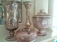 Pink/ blush mercury glass is perfect for a romantic vintage ...