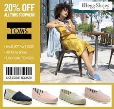 🔴  20% off All Toms Footwear with code: TOMS20 ❗ Comfy styles for everyday wear at a great deal! Browse here: www.beggshoes.com/Womens/toms-shoes/ #tomsshoes #toms #espadrilles #canvasshoes #leisurewear