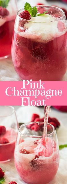 This Pink Champagne Float is the perfect treat for Valentine's Day! These would also be pretty at a bridal shower, girl's baby showers, Mother's Day or just any day you need something special! | http://www.countrysidecravings.com