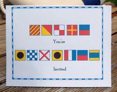 Nautical Alphabet Signal Flag Invitation Card by NauticalABC Rehearsal dinner invite