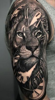 Check out our website for more Tattoo Ideas 👉 positivefox.com #shouldertattoos #forearmtattoos #liontattoos