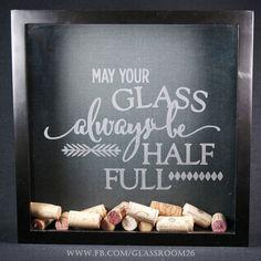 Wine Cork Shadow Box  Half Full by Glassroom26 on Etsy