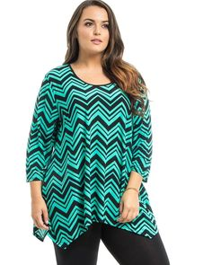 Women Knit Top Plus Size 1XL Mint Chevron Print Scoop Neck 3/4 Sleeve Shark Bite #BlackNBlue #KnitTop #Career