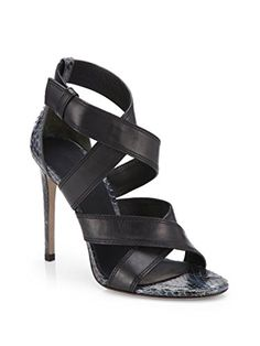 a90687ffe864c Alexander Wang Womens Black Linda Snakeskin Leather Strappy Sandals Size  85US -- More info could