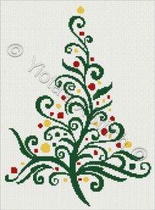 Swirly Christmas tree No2 cross stitch | Yiotas XStitch